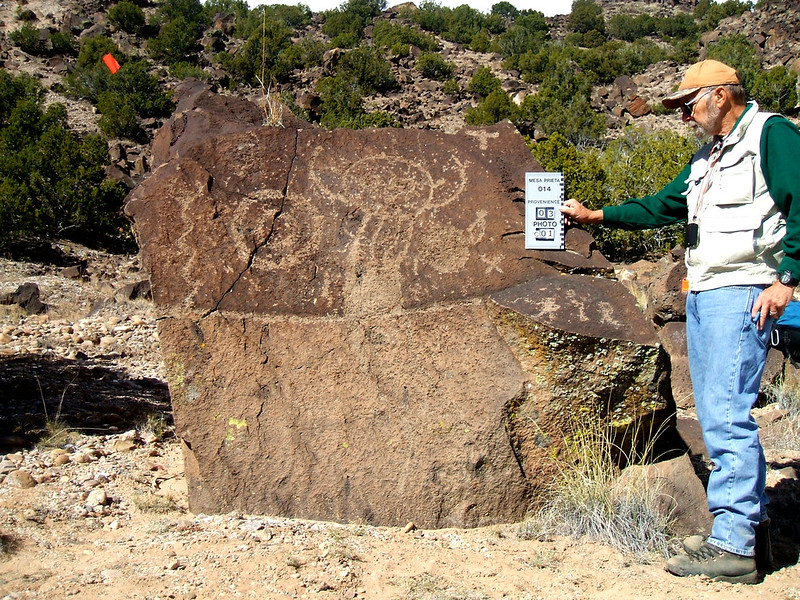 Retired Los Alamos National Laboratory engineer Lee Bourdin volunteers at the nonprofit Mesa Pietra Petroglyph Project near Velarde, New Mexico.