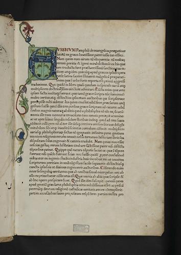 Decorated initial in Eusebius Caesariensis: De evangelica praeparatione