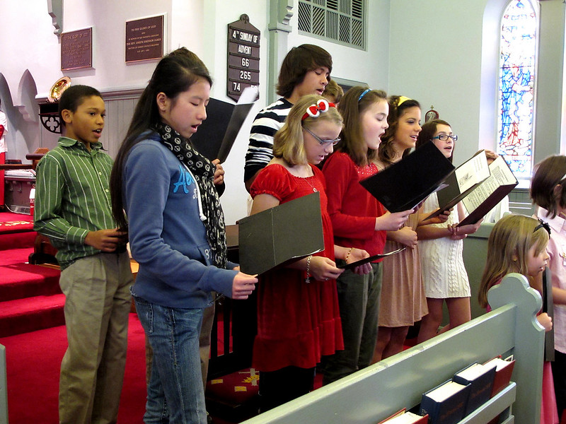 Sunday School kids sing