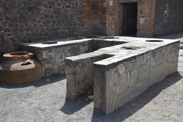 Marble surfaced counter of a thermopolium, Pompeii
