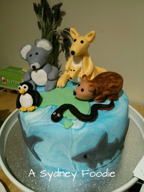Blue cake with animals