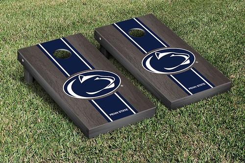 Penn State PSU Nittany Lions Cornhole Game Set Onyx Stained Stripe Version