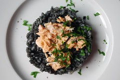 Sepia Risotto w/ Salmon - Risotto Nero al Salmone