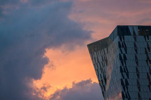 sunset architecture modern clouds skyscraper canon copenhagen hotel view conference amager ørestad bellacenter 3xn bellasky