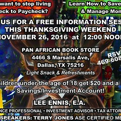 November 26, 2016 We talk Money, Investments, Taxes, Credit and More! All children under 18 Get $20 and a FREE Savings/Investment Account #financialfreedom #finance #financialliteracy #investmentclub #investment #enrolledagent #investmentadvisor #creditre