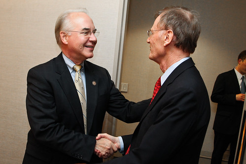 Tom Price (R-Ga.), chairman of the House Budget Committee, shakes hands with Stuart M. Butler, senior fellow in Economic Studies at Brookings