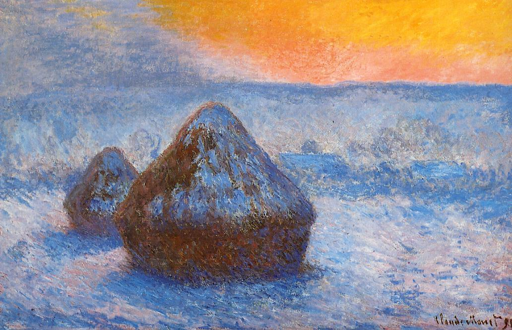 Grainstacks at Sunset, Snow Effect by Claude Oscar Monet - 1890-1891