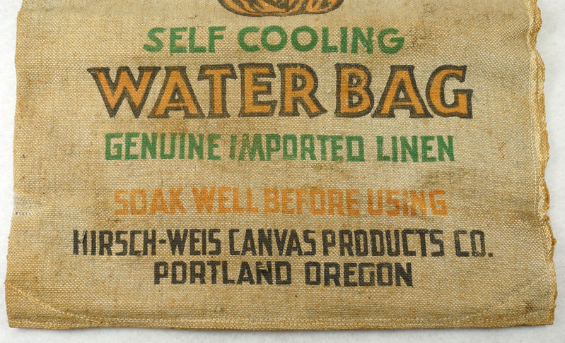 RD14937 Vintage Hirsch Weis Canvas Self Cooling Water Bag No. 1502 Portland, Oregon DSC06770