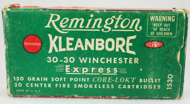 RD14567 Vintage Remington KLEANBORE 30-30 Express 150 gr. Soft Point SMOKELESS Ammo Box & 20 Brass Casings DSC06984