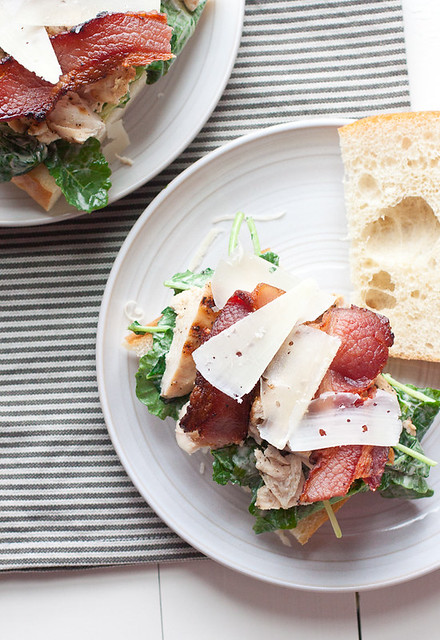 Grilled Chicken and Kale Caesar Salad Sandwiches with Bacon