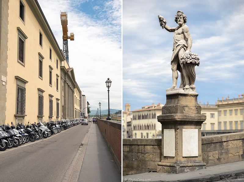 Firenze, scooters, statue
