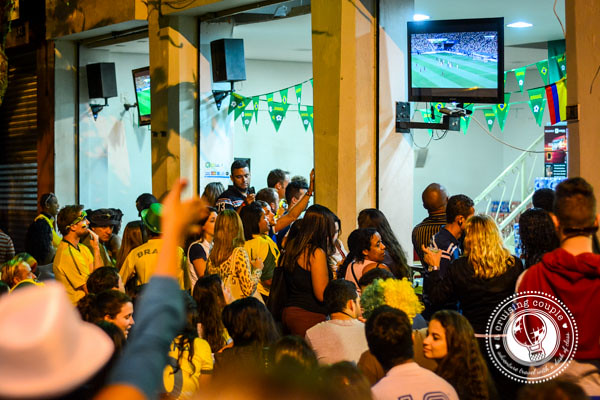 Brazilian Fans Watching the Game in the Streets World Cup 2014