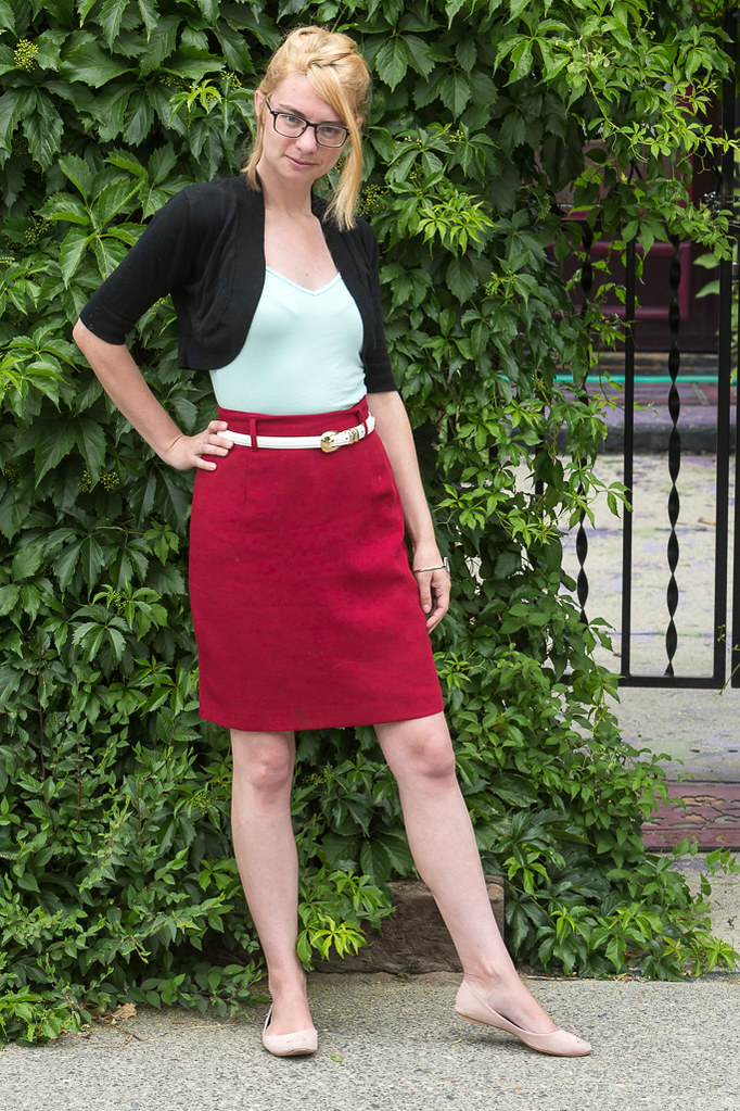 red, mint, pencil, skirt, rose, work clothes, never fully dressed, withoutastyle,