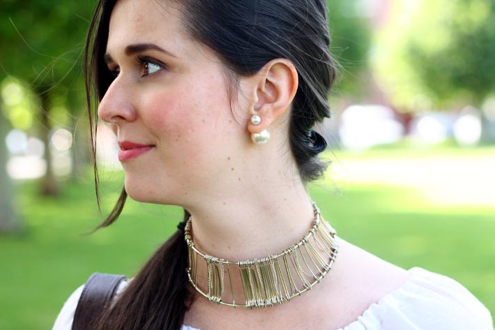 double pearl earrings gold choker