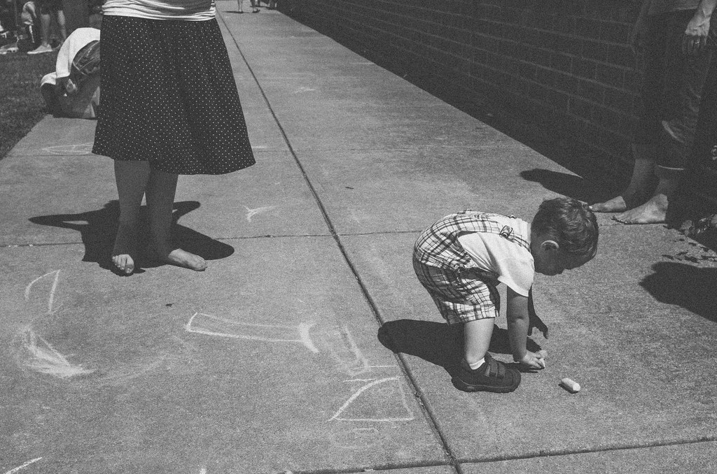Micah and sidewalk chalk