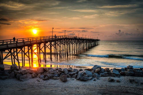 beach sunrise pier nc northcarolina carolina wilmington hdr