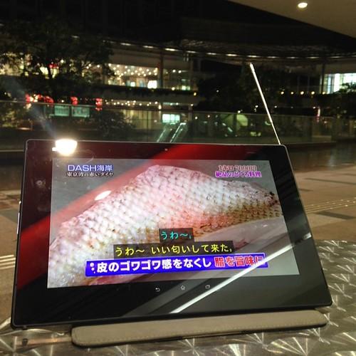 Xperia Z2 TabletならフルセグでTV視聴できちゃう。外でもこの通り。野球とかサッカーを観たい。 #Xperiaアンバサダー