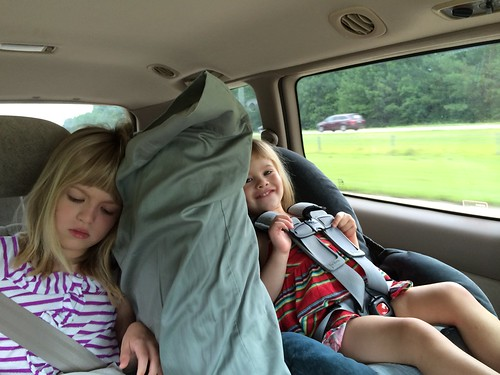 Headed for the beach. The pillow serves a dual purpose: breaking up fights, and car naps.