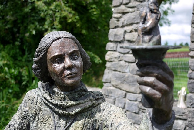 Brigid at Brigid's Well, Kildare, July 2014