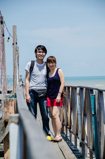 Posing on the wooden bridge
