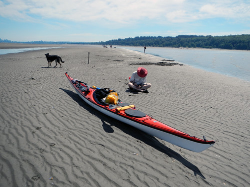 Spanish Banks Beach at Low Tide: Kayak Stop for a Bit of Social Networking