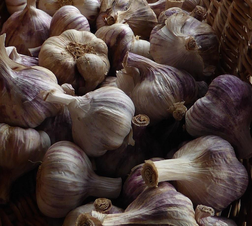 A basket of garlic