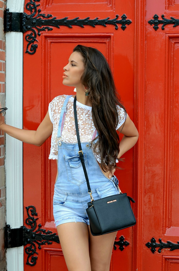 DSC_0491 Denim overalls, Michael Kors Bag, Supertrash earrings (4)