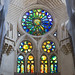 Colorful stained glass at Sagrada Familia