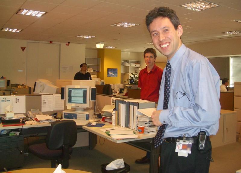 Daniel at work, August 2004