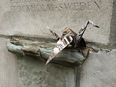 Origami Crane on Tribune Tower ledge