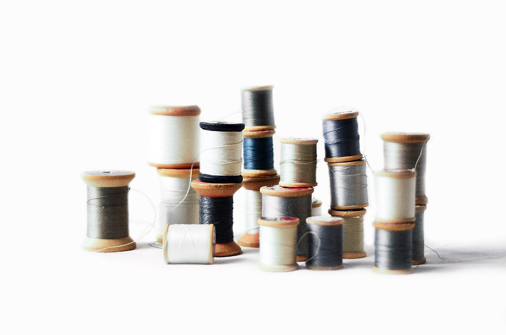 Twenty One Vintage Gray and White Wooden Spool Threads, Beach Tones Collection