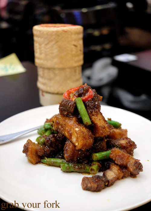 Crispy pork belly with prik khing at Do Dee Paidang, Haymarket Chinatown Sydney