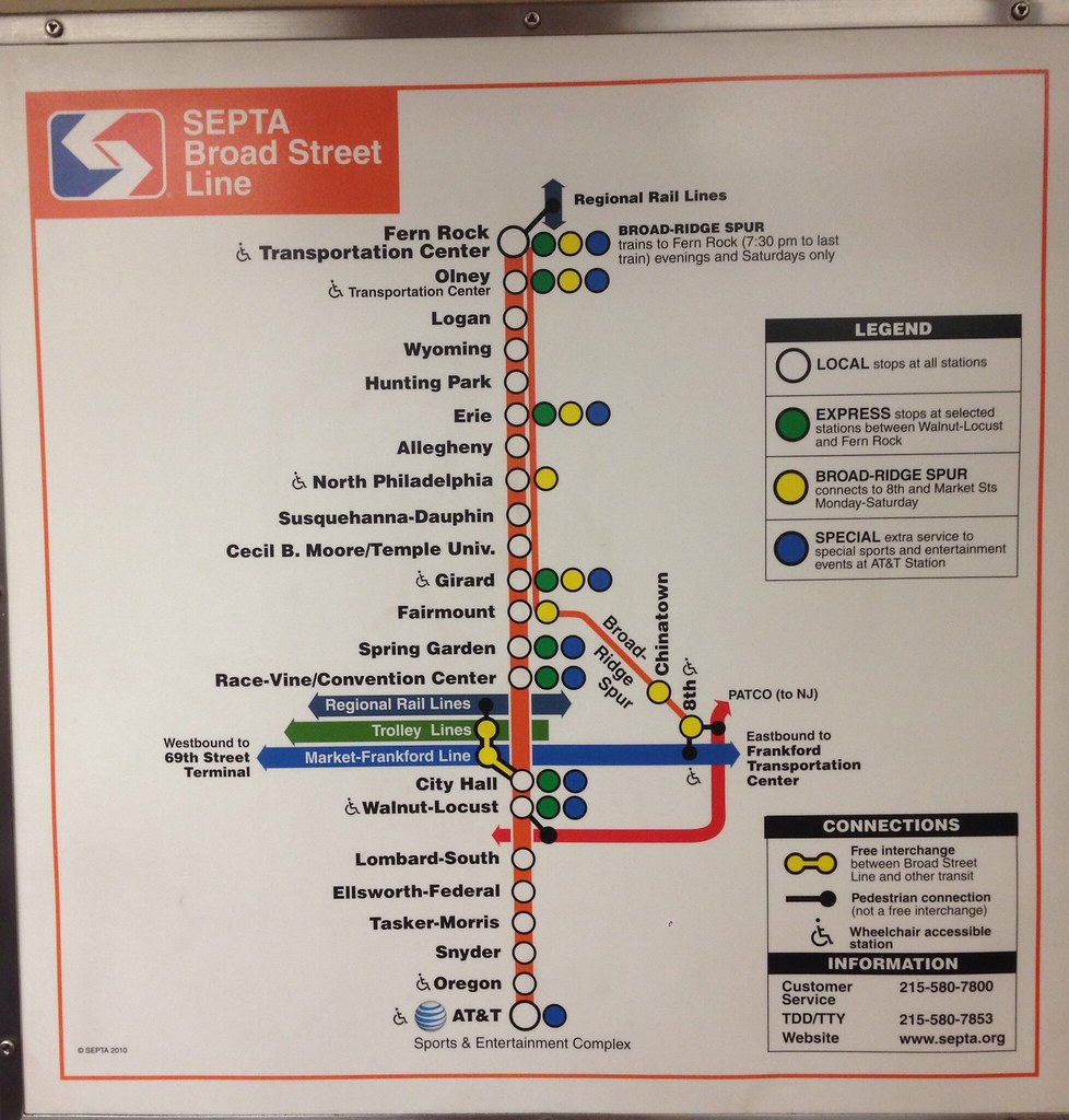 SEPTA Broad St Line map (9/14) | In car map of the SEPTA Bro… | Flickr