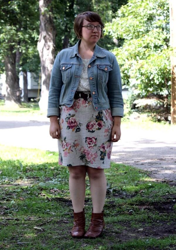 lace tee, floral skirt, denim jacket, booties