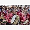 Los irreductibles de la Banda de Música de Firgas acompañaban las procesiones con inconfundible 'look' y cadencioso 'swing'.