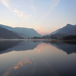 Autumn Sunrise on Padarn lake.