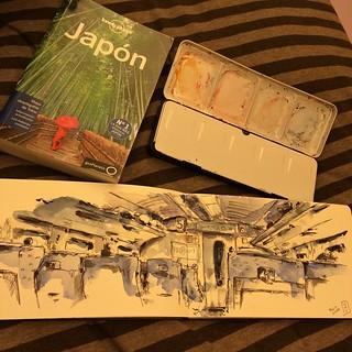 #japon #bolígrafo #watercolor #shinkansen #tokyo #kyoto