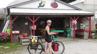 Happy Caroline at farm stand