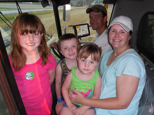 Brandon, Angie and kids in the cab