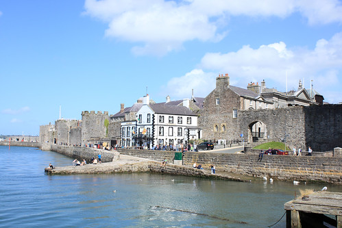 Caernarfon, the Anglesey Pub and town walls