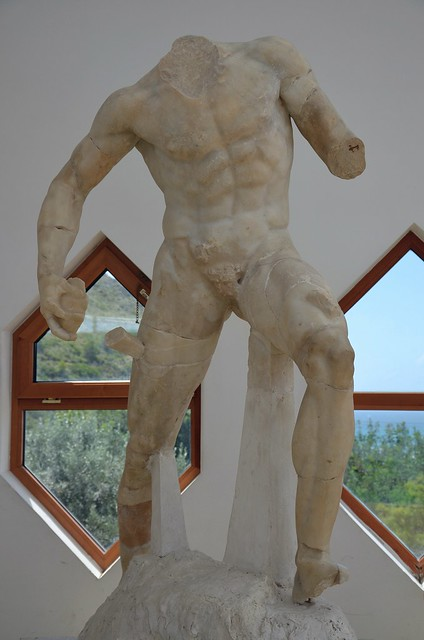 One of Ulysses' companions holding up a stake, from the Blinding of Polyphemus group, Tiberian age, Sperlonga