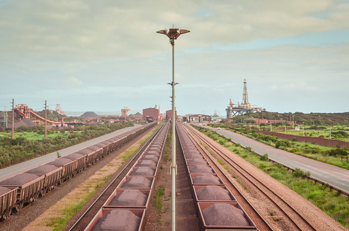 Iron ore loaded trains at the Saldanha terminal, South Africa