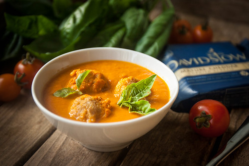 Mom's Tomato Soup with Cheddar Dumplings