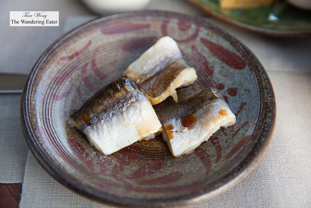 Soy sauce marinated grilled barracuda at Gusuku's breakfast