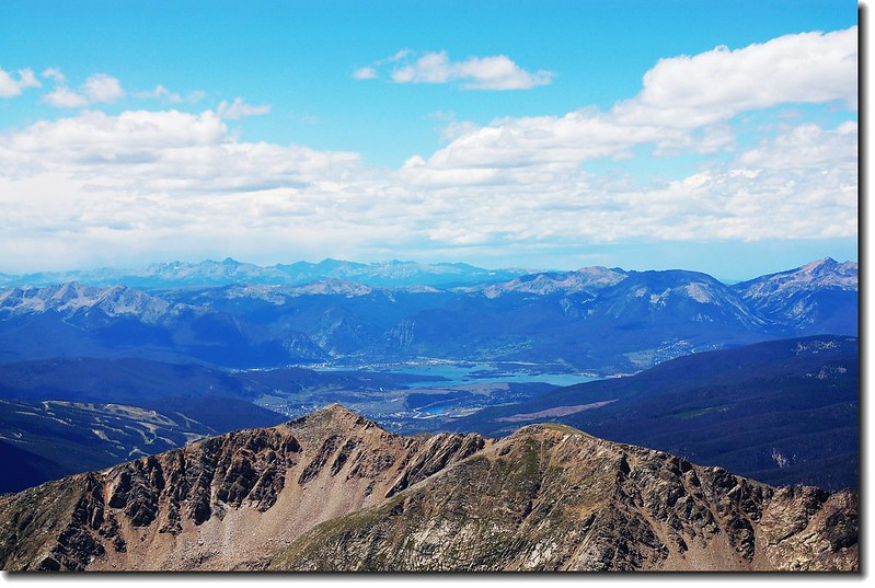 View to West from Grays peak,  Dillon Reservoir can be seen in the distance