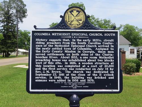 Columbia Methodist Episcopal Church South Marker (Reverse) (HCC) Columbia AL