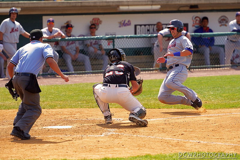 Matt Clark is out at the plate...