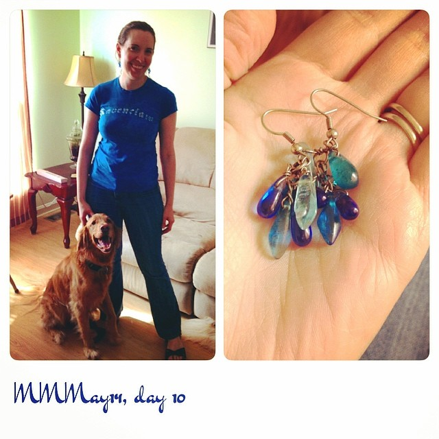 Had to work part of the day again, so low-key #mmmay14. Made the jeans/earrings, tee from Universal Studios.
