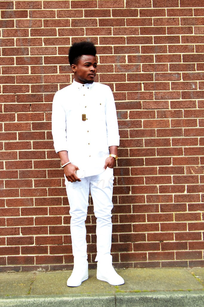 Men's-White-On-White-SS14-Fashion-Trend, All White Clothing For Men, men's white on white, Men's White-On-White SS14 Fashion Trend, dog tag necklace, mens hi-low sneakers, How to style men's white on white, How to style white on white, How to style all white outfit