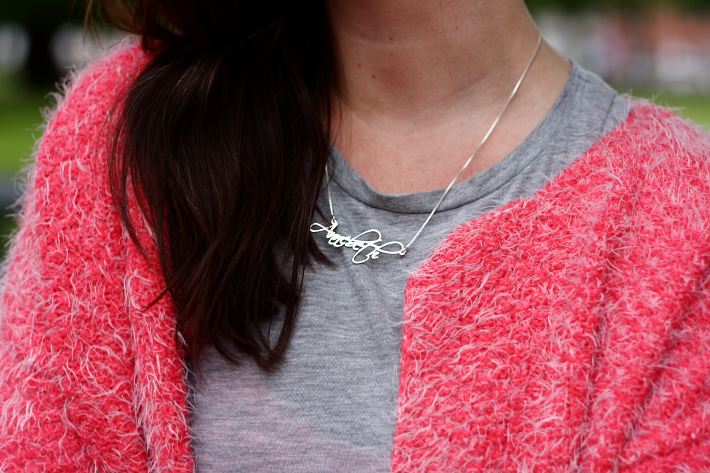 fluffy pink cardigan name necklace